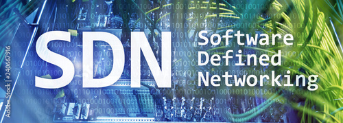 Pinturas sobre lienzo  SDN, Software defined networking concept on modern server room background