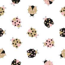 Seamless Cute Ladybug Pattern....