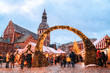 Christmas market and the main Christmas tree located at the Dome square in old Riga, Latvia.