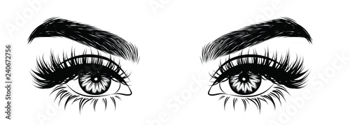 Obraz Abstract fashion illustration of the eye with creative makeup. Hand drawn vector idea for business visit cards, templates, web, salon banners,brochures. Natural eyebrows and glam eyelashes - fototapety do salonu