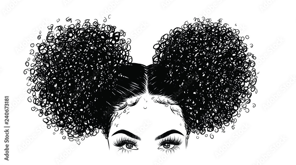 Fototapeta Curly beauty girl illustration isolated on clear background. Double buns with long hair. Hand draw idea for business cards, templates, web, brochure, posters, postcards, salon
