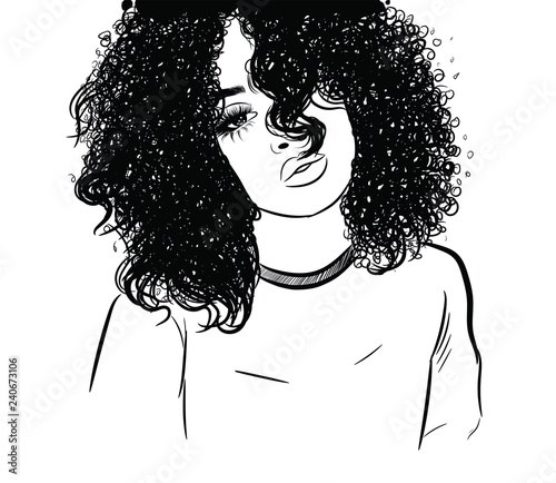 Curly beauty girl illustration isolated on clear background with long hair. Hand draw idea for business cards, templates, web, brochure, posters, postcards, salon Wall mural