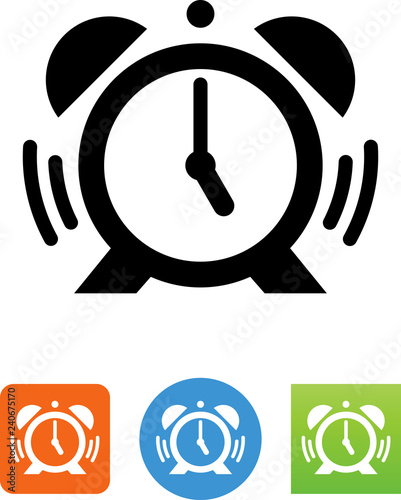 Photo Alarm Clock With Ringer And Soundwaves Icon - Illustration