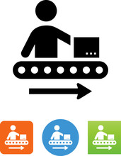 Assembly Line Shipping Icon - Illustration