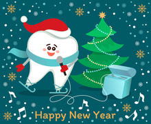 Skating Singing Cartoon Tooth In Santa Hat With Dental Floss. Christmas Tree, Snowflakes, Musical Notes On Night Blue Background. Happy New Year From Dentistry! Winter Holidays Greeting Card.