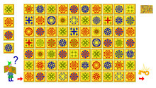 Logic Puzzle Game With Labyrinth For Children And Adults. Help The Wizard Find The Way To The Key. Use Only 4 Magic Tiles And Draw The Line Vertically Or Horizontally. Vector Cartoon Image.
