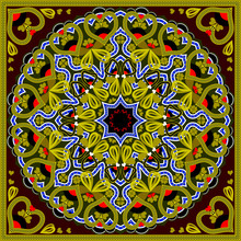 Fantastic Ornament Of Colorful Pillow Done In Kaleidoscopic Stile. Beautiful Oriental Decoration. Vector Image.