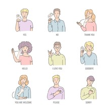 Deaf English Basic Words In Line Art Isolated On White Background - Vector Illustration Set Of People Using Gesture In American Sign Language. Educational Collection Of Fingerspelling.