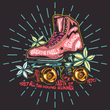 Roller Skates With Flowers On A Fern Background. Vector Image. Label.