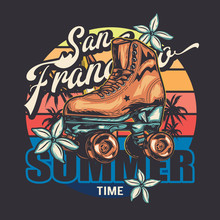Vector Image. Roller Skates In Retro Style. Sunset, Flowers, Palm Trees, Colored Background