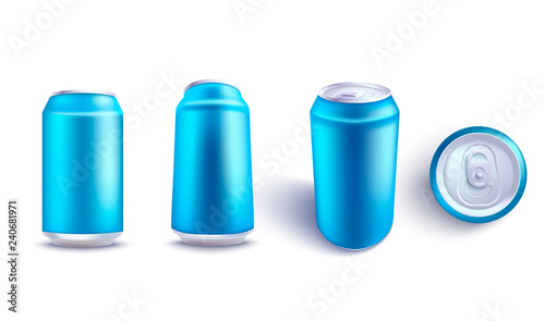 67494bbdb381f Vector aluminium can blue mockup set for beer, juice or soda fresh ...