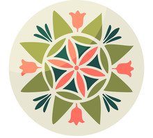 Pennsylvania Fancy Dutch Folk Art Vector Illustration: Hex Sign With Six-petal Rosette. Barn Hex Talisman Circle Sign Pow Wow Or Powwow Paintings Imitation.
