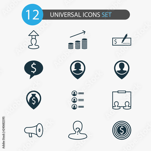 Human Icons Set With Business Dollar Bank Check Location And Other Anonymous Elements Isolated Vector Ilration