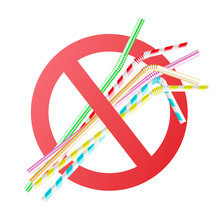 Vector No To Plastic Straws Co...