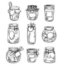 Set Od Hand Drawn Mason Jars W...