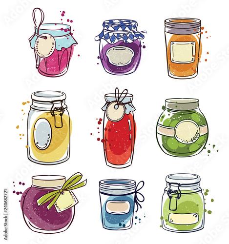 Fotografering  Set od hand drawn mason jars with jam, vector illustration