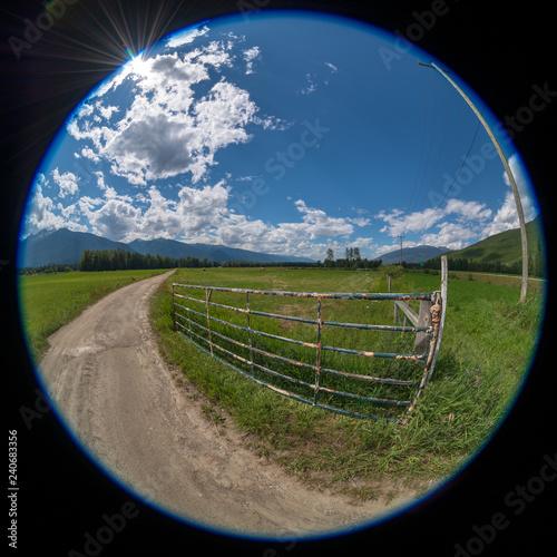 Photo Circular fisheye view of a farm in British Columbia, Canada