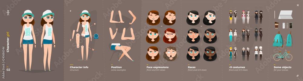 Fototapeta Cartoon Character Animation Set For Your Motion Design