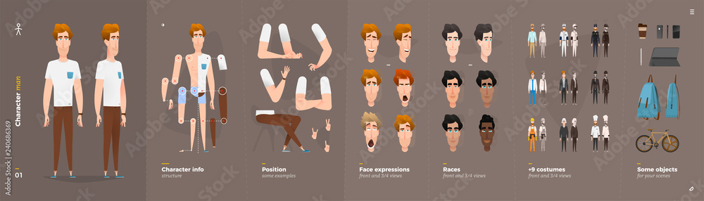 Fototapeta Cartoon Character Animation Set For Your Motion Design.