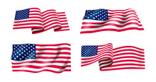 Set Of Waving Flag Of The United States Of America. Wavy American Flag For Independence Day. Vector Illustration. Isolated On White Background.