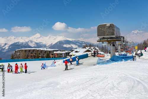 Canvastavla Ski resort in winter, Aosta, Italy