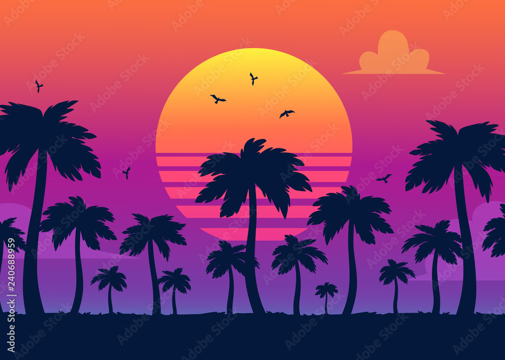 Fototapeta Vector purple sunset on background of palm silhouettes. California beach, summer vacation backdrop for design. Tropical sunset scene for travelling design.
