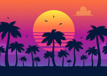 Vector Purple Sunset On Backgr...