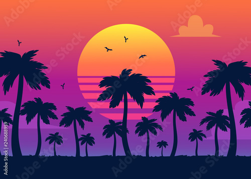 Vector purple sunset on background of palm silhouettes. California beach, summer vacation backdrop for design. Tropical sunset scene for travelling design.