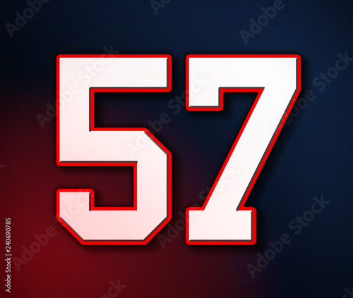 Fotografie, Obraz  American Football Classic Vintage Sport Jersey Number 57 in white, red and blue