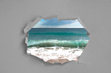 Wrinkled Ripped Torn Paper With Hole In Center Background Texture Poster Backdrop Empty Space Sea Ocean Waves Window View