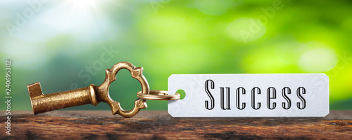 Old Brass Key And Tag With The Word Success On Wooden Table With Green Backgroun Canvas-taulu
