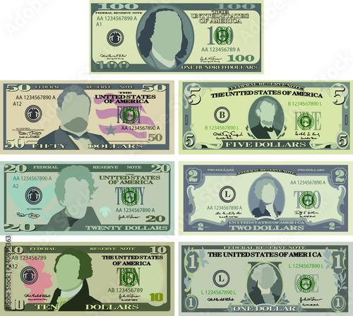 Cuadros en Lienzo US dollar banknote set