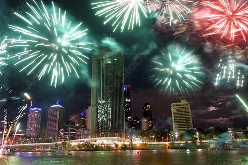 Staande foto Oceanië Fireworks Display in Brisbane, Australia
