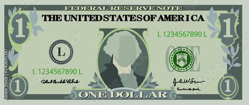 Fotografie, Obraz  1 US dollar banknote