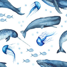 Watercolor Seamless Pattern With Whales, Jellyfish, Sperm Whale, Narwhal. Texture With Oceanic Mammals For Wallpaper, Packaging, Scrapbooking, Fabrics, Textiles.