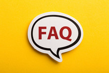 FAQ Speech Bubble Isolated On Yellow Background