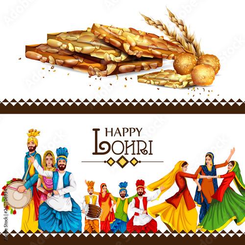 Fotografie, Obraz  Happy Lohri festival of Punjab India background