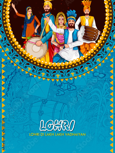 Fotografie, Obraz  Happy Lohri festival of Punjab India background
