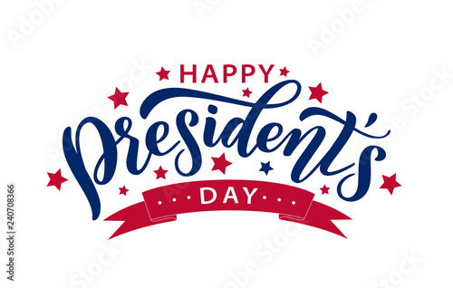 Photo Happy Presidents Day with stars and ribbon