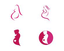 Women Pregnant Logo Vector Icon Template