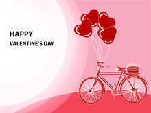 Illustration Of Valentine's Day With Bicycle And Balloon