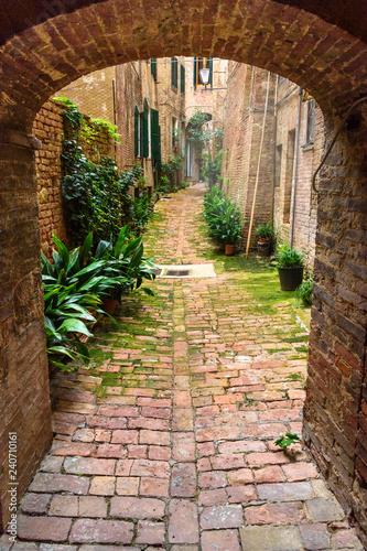 Średniowieczna wąska ulica Vicolo degli Orefici w Sienie, Toskania, Włochy.