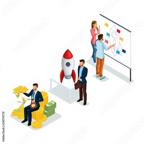 Trendy Isometric Objects, 3d icon Young Entrepreneurs, new business
