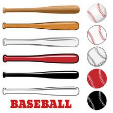 Baseball And Baseball Bat Isol...