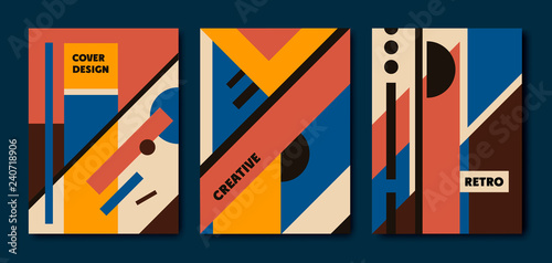 Obraz na plátně  Vector set of retro bauhaus geometric covers
