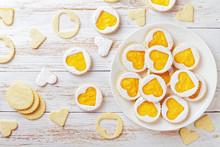 Homemade Heart Shaped Linzer Cookies With Mango Jam