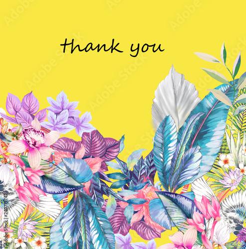 Photo sur Toile Empreintes Graphiques Elegant watercolor tropical flowers and palm leaves