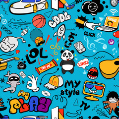 Vector graffiti seamless texture with bizarre elements and characters with social media signs and other shiny icons. Print fabric vector pattern with pop art patches for print, party, children's room.