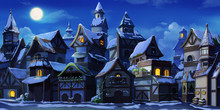Small Fairy Tale Town Winter Night With Snow. Fiction Backdrop. Concept Art. Realistic Illustration. Video Game Digital CG Artwork. Industry Scenery.