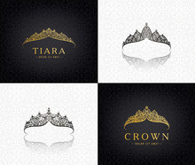 Vector Set Of Lace Luxury Crow...